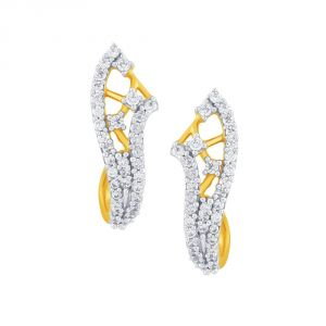 Surat Tex,Soie,Jagdamba,Sangini,Jpearls Women's Clothing - Sangini Yellow Gold Diamond Earrings DE508SI-JK18Y
