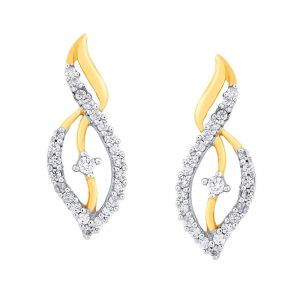 Kiara,Sukkhi,Jharjhar,Fasense,Jagdamba,Mahi,Jpearls,Asmi Women's Clothing - Asmi Yellow Gold Diamond Earrings DE709SI-JK18Y