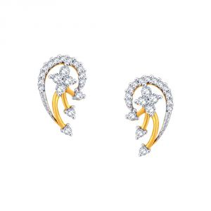 Asmi,Kiara Women's Clothing - Asmi Yellow Gold Diamond Earrings GE338SI-JK18Y