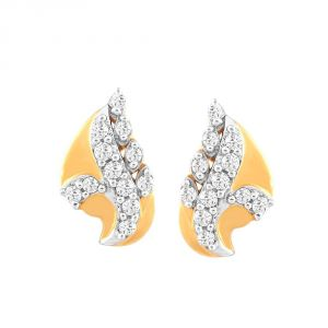 Hoop,Asmi,Kalazone Women's Clothing - Asmi Yellow Gold Diamond Earrings PE11422SI-JK18Y