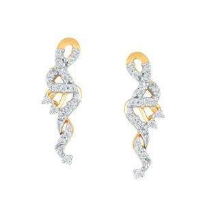 Hoop,Shonaya,Soie,Vipul,Cloe,Asmi Women's Clothing - Asmi Yellow Gold Diamond Earrings PE20480SI-JK18Y