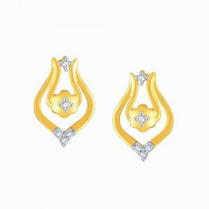 Hoop,Shonaya,Tng,Sangini,Bikaw,Jharjhar Women's Clothing - Sangini Yellow Gold Diamond Earrings PE20911SI-JK18Y