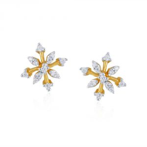 Triveni,Sangini,Gili,Sukkhi,Estoss Women's Clothing - Sangini Yellow Gold Diamond Earrings PRA1E3610SI-JK18Y