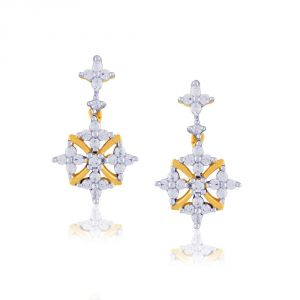 Triveni,My Pac,Sangini,Kiara,Surat Diamonds Women's Clothing - Sangini Yellow Gold Diamond Earrings PWDPSE212SI-JK18Y