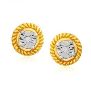 Hoop,Asmi Women's Clothing - Asmi Yellow Gold Diamond Earrings RDE00279SI-JK18Y