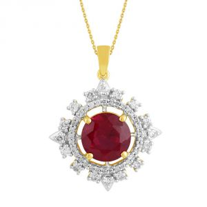 Kiara,Sukkhi,Ivy,Parineeta,Kaamastra Diamond Jewellery - Parineeta Yellow Gold Diamond Pendant BAP358SI-JK18Y