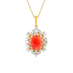 Vipul,Oviya,Kaamastra,Parineeta,Port,Shonaya,Soie Women's Clothing - Parineeta Yellow Gold Diamond Pendant BAP414SI-JK18Y