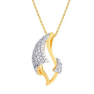 Hoop,Asmi,Kalazone,Unimod Women's Clothing - Asmi Yellow Gold Diamond Pendant BAP452SI-JK18Y