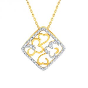 Lime,Surat Tex,Soie,Jagdamba,Sangini,Triveni,Oviya,Bikaw,Estoss Women's Clothing - Sangini Yellow Gold Diamond Pendant SJP312SI-JK18Y