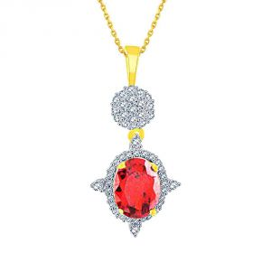Vipul,Oviya,Kaamastra,Parineeta,Port,Shonaya Women's Clothing - Parineeta Yellow Gold Diamond Pendant BAP219SI-JK18Y