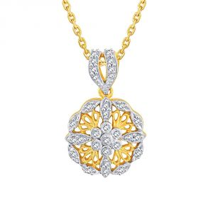Lime,Surat Tex,Soie,Jagdamba,Sangini Women's Clothing - Sangini Yellow Gold Diamond Pendant DNP473SI-JK18Y