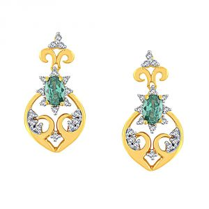 Triveni,Pick Pocket,Parineeta,Mahi,Tng,The Jewelbox,Kaamastra Women's Clothing - Parineeta Yellow Gold Diamond Earrings PE15777SI-JK18Y
