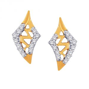 Hoop,Asmi Women's Clothing - Asmi Yellow Gold Diamond Earrings IDE00438SI-JK18Y