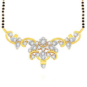 Surat Tex,Soie,Jagdamba,Sangini,Jpearls Women's Clothing - Sangini Yellow Gold Diamond Mangalsutra PRA1T3216SI-JK18Y