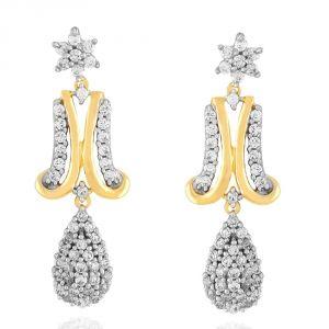Asmi Women's Clothing - Asmi Yellow Gold Diamond Earrings DDE02010SI-JK18Y