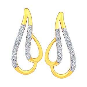 Asmi,Ivy,Unimod,Hoop,Triveni Women's Clothing - Asmi Yellow Gold Diamond Earrings ADE01149SI-JK18Y