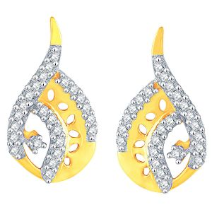 Jagdamba,Surat Diamonds,Valentine,Jharjhar,Asmi,Oviya,Jpearls Women's Clothing - Asmi Yellow Gold Diamond Earrings ADE01219SI-JK18Y
