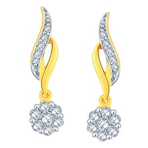 Nirvana Yellow Gold Diamond Earrings Apse775si-jk18y