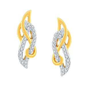Triveni,Platinum,Jagdamba,Flora,Bagforever,The Jewelbox,Shonaya,Asmi Women's Clothing - Asmi Yellow Gold Diamond Earrings IDE00917SI-JK18Y