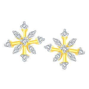 Lime,Surat Tex,Soie,Jagdamba,Sangini Women's Clothing - Sangini Yellow Gold Diamond Earrings PRA1E3510SI-JK18Y