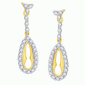 Asmi,Ivy,Unimod,Hoop,Triveni Women's Clothing - Asmi Yellow Gold Diamond Earrings PRA1E3603SI-JK18Y