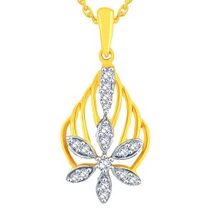 Triveni,Tng,Jagdamba,See More,Kalazone,Bikaw,Sangini Women's Clothing - Sangini Yellow Gold Diamond Pendant AAP048SI-JK18Y