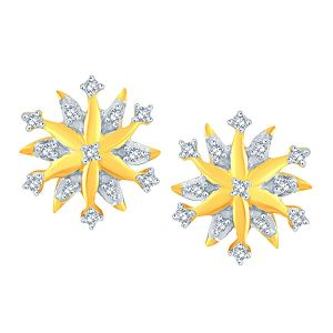 Triveni,My Pac,Sangini,Kaamastra Women's Clothing - Sangini Yellow Gold Diamond Earrings PE18172SI-JK18Y