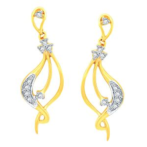 Soie,Flora,Oviya,Asmi,Estoss Women's Clothing - Asmi Yellow Gold Diamond Earrings YEK178SI-JK18Y