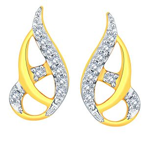 Asmi,Platinum,Ivy,Ag,Hoop Women's Clothing - Asmi Yellow Gold Diamond Earrings ADE00937SI-JK18Y