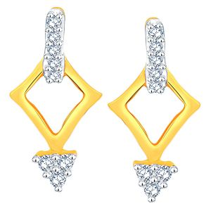 Soie,Flora,Oviya,Asmi,Estoss Women's Clothing - Asmi Yellow Gold Diamond Earrings ADE01227SI-JK18Y