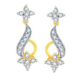Asmi,Sukkhi,Triveni,Surat Tex Diamond Jewellery - Asmi Yellow Gold Diamond Earrings RZE00054SI-JK18Y