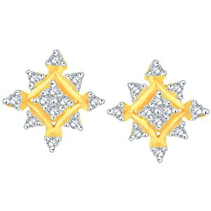 La Intimo,Shonaya,Sangini,Jpearls,Unimod Women's Clothing - Sangini Yellow Gold Diamond Earrings ADE00479SI-JK18Y