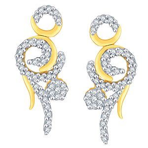 Vipul,Arpera,Clovia,Oviya,Sangini,Jagdamba,Jharjhar Women's Clothing - Sangini Yellow Gold Diamond Earrings LE4330SI-JK18Y