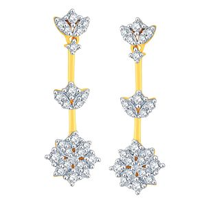 Asmi,Sukkhi,Sangini Women's Clothing - Sangini Yellow Gold Diamond Earrings NERB392SI-JK18Y