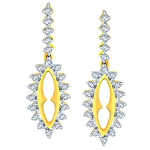 Kiara,Jharjhar,Jpearls,Mahi,Diya,Unimod,Sangini Women's Clothing - Sangini Yellow Gold Diamond Earrings PRA1E3598SI-JK18Y