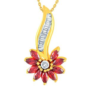 Diya,Parineeta,Karat Kraft Jewellery - Parineeta Yellow Gold Diamond Pendant AP457SI-JK18Y