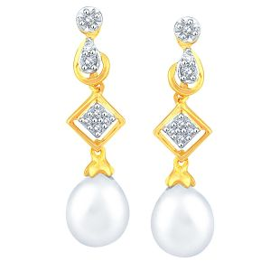 Kiara,Sukkhi,Tng,Sangini Women's Clothing - Sangini Yellow Gold Diamond Earrings DDE02151SI-JK18Y