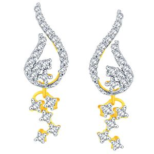 La Intimo,Shonaya,Sangini,Diya,Gili Women's Clothing - Sangini Yellow Gold Diamond Earrings PWDPSE132SI-JK18Y