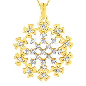 Lime,Surat Tex,Soie,Jagdamba,Sangini Women's Clothing - Sangini Yellow Gold Diamond Pendant YDP00354SI-JK18Y