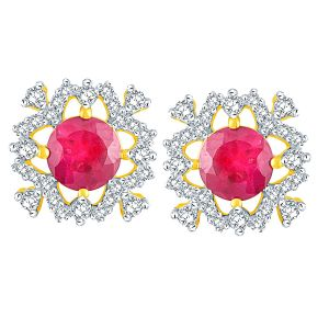 Rcpc,Kalazone,Jpearls,Parineeta,Bagforever,Clovia,Shonaya,Flora,Sleeping Story Women's Clothing - Parineeta Yellow Gold Diamond Earrings BAEP403SI-JK18Y