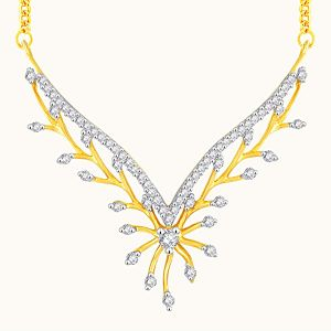 Jagdamba,Mahi,Flora,Sangini Women's Clothing - Sangini Yellow Gold Diamond Tanmaniya YP329SI-JK18Y