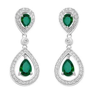 Hoop Silver With Cz Diamond Green Earring For Womens Ee1439