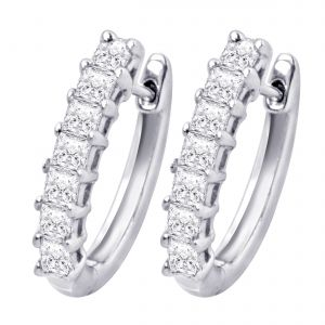 Hoop Silver With Cz Diamond Silver Earring For Womens Ef4088