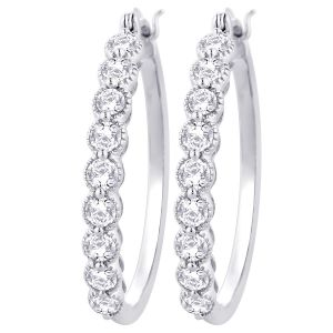 Hoop Silver With Cz Diamond Silver Earring For Womens Ef4452