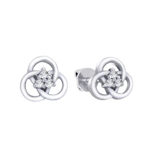Hoop Silver With Cz Diamond Silver Earring For Womens Ef4912