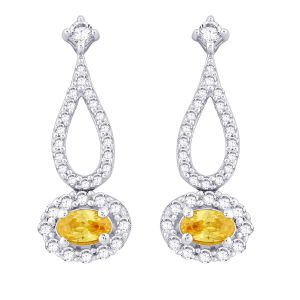 Hoop Silver With Cz Diamond Yellow Earring For Womens Ef8803