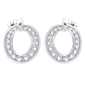 Hoop Silver With Cz Diamond Silver Earring For Womens Ef8847