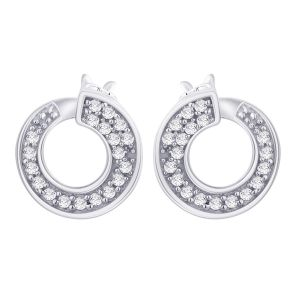 Hoop Silver With Cz Diamond Silver Earring For Womens Ef8848