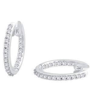 Hoop Silver With Cz Diamond Silver Earring For Womens Ef8859