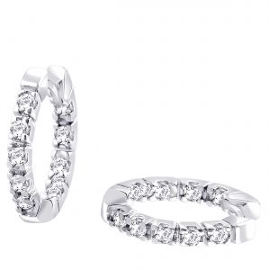 Hoop Silver With Cz Diamond Silver Earring For Womens Ef8864
